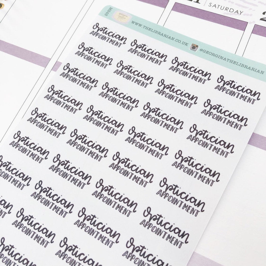 Optician appointment script planner stickers lettering monochrome small size hand lettered
