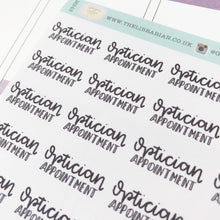 Load image into Gallery viewer, Optician appointment script planner stickers lettering monochrome small size hand lettered great for bullet journal