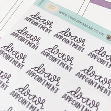 Load image into Gallery viewer, Doctor appointment script planner stickers lettering monochrome small size hand lettered great for bullet journal