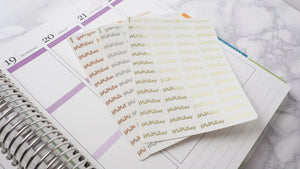 Foil Priorities script planner stickers lettering small size hand lettered