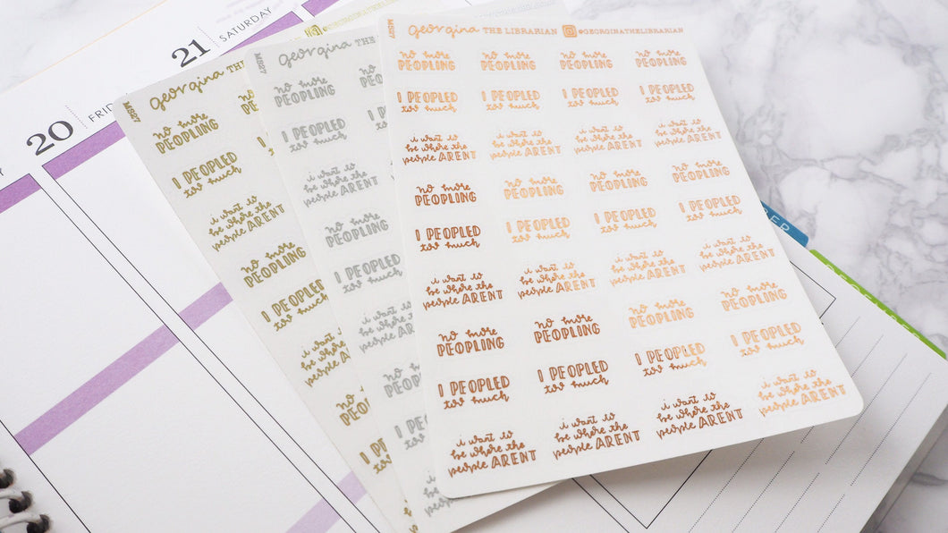 Foil Peopled too much introvert script planner stickers lettering  small size hand lettered great for bullet journal