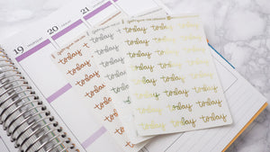 Foil Today script planner stickers lettering large size hand lettered great for bullet journal