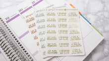 Load image into Gallery viewer, Foil Peopled too much introvert script planner stickers lettering large size hand lettered