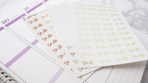 Foil To Do script planner stickers lettering small size hand lettered