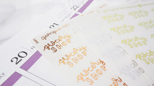 Foil Grocery Shop script planner stickers lettering large size hand lettered great for bullet journal