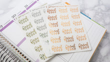 Load image into Gallery viewer, Foil Big food Shop script planner stickers lettering  large size hand lettered great for bullet journal