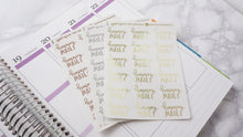 Load image into Gallery viewer, Foil Happy Mail script planner stickers lettering large size hand lettered
