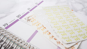 Foil Pay Day script planner stickers lettering large size hand lettered great for bullet journal