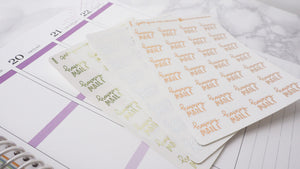 Foil Happy Mail script planner stickers lettering small size hand lettered