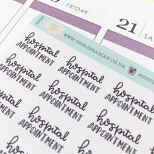 Load image into Gallery viewer, Hospital appointment script planner stickers lettering monochrome small size hand lettered great for bullet journal