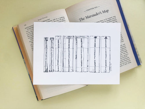 Magical childhood Novels Book Spine Ink Drawing Art print