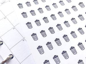 Nano trash can rubbish bin sticker perfect for journaling or planning