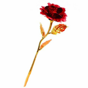 24k Gold Plated Rose Flower - Red