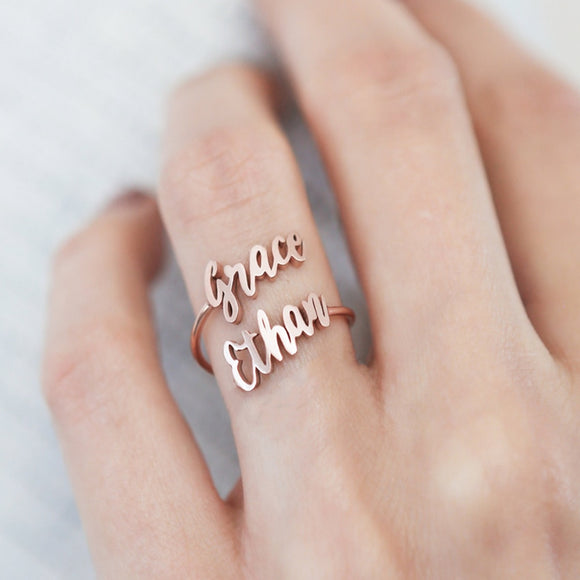 Adjustable Custom Double Name Ring