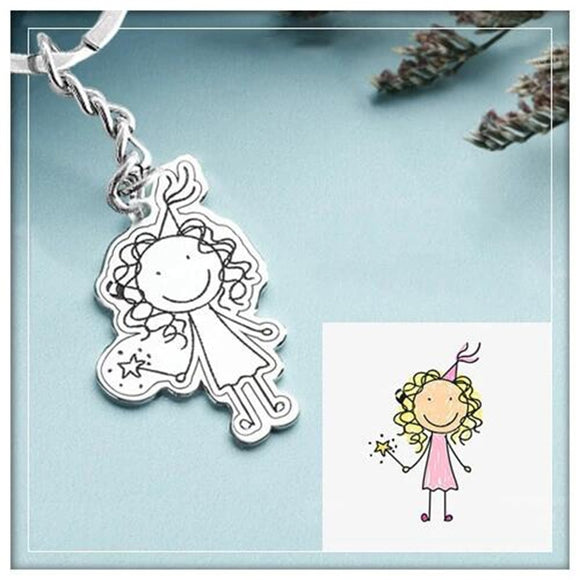 925 Sterling Silver Custom Child's Drawing Necklace or Keychain