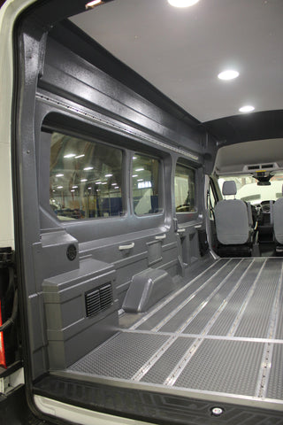 "Ford Transit 148"" WB High Roof Extended Window Wall Liner Kit (GREY)"