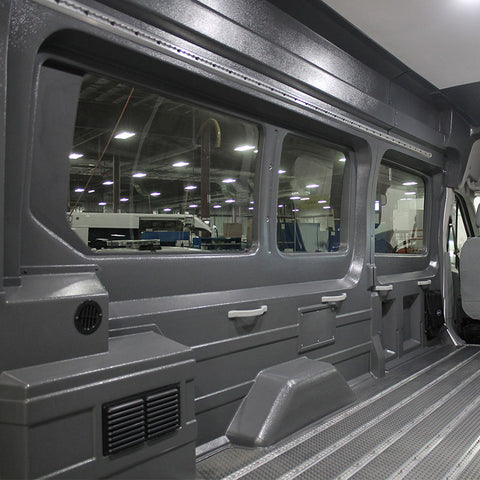 "Ford Transit High Roof (WB 148"") - Extended Van Window Wall Liner Package with Trim Pieces"