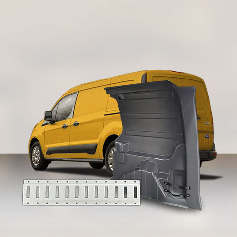 Ford Transit Connect LWB - Solid Wall Liner Package with E-Track (Grey)