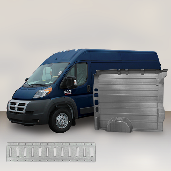 "Ram ProMaster High Roof Single Door (WB 159"") - Solid Wall Liner Package with E-Track"