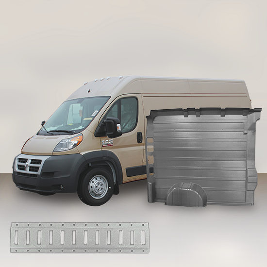 "Ram ProMaster High Roof Single Door (WB 136"") - Solid Wall Liner Package with E-Track"