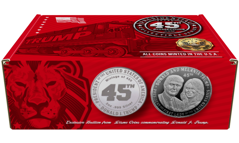 President Trump and First Lady Melania 2oz Silver Commemorative Coin. Each one comes with its own limited edition collectors box.