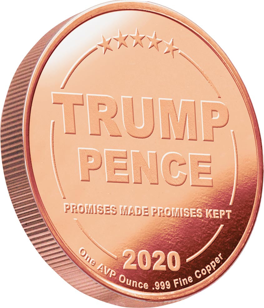 all of our 1oz trump commemorative 2020 coin series has this reverse - trump / pence 2020 coin series