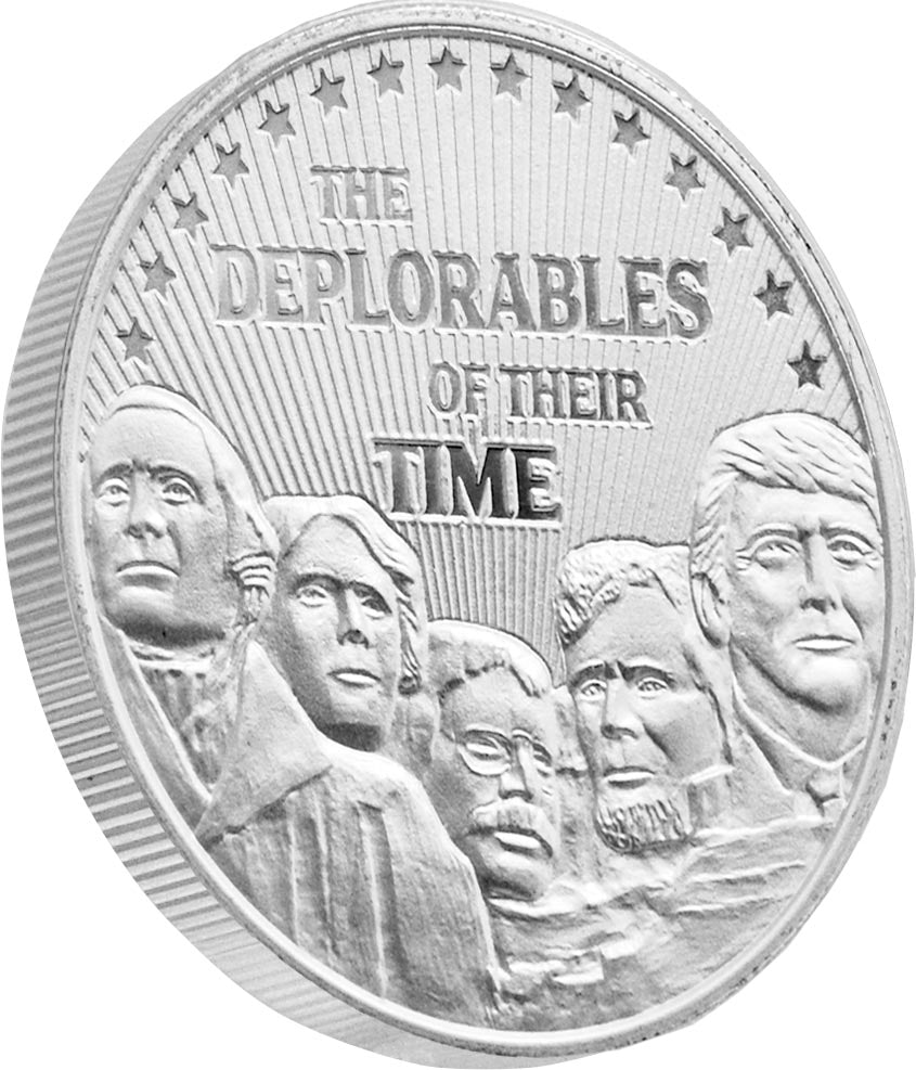 this is our trump deplorables commemorative coin - .999 1oz silver - shows president trump on mount rushmore