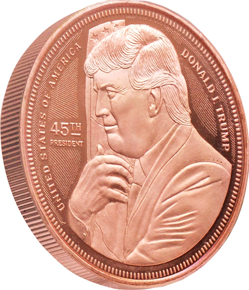 this is our trump hugging the flag commemorative coin - .999 1oz copper-