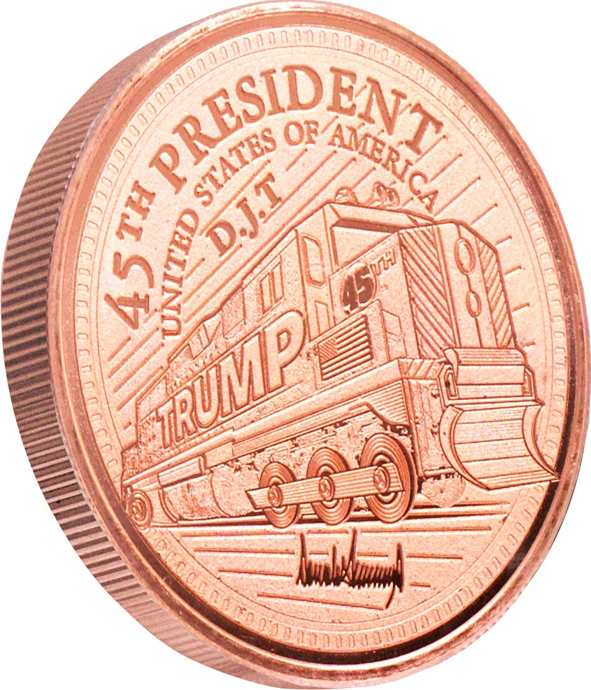 this is our trump train commemorative coin - .999 1oz copper- shows the trump train with a snowflake plow on the front