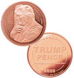 this is our trump hugging the flag commemorative coin - showing the trump / pence reverse that is standard on all of our 1oz coins - .999 1oz copper-