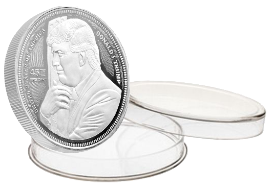 this is our trump hugging the flag commemorative coin - .999 1oz silver - each one of our president trump commemorative coins comes in a direct fit hard plastic capsule that is also made in the usa.