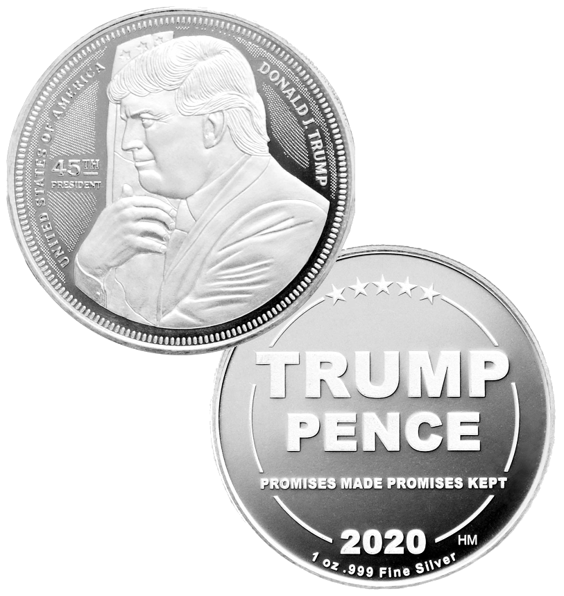 this is our trump hugging the flag commemorative coin - showing the trump / pence reverse that is standard on all of our 1oz coins - .999 1oz silver -