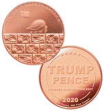 this is our trump build the wall commemorative coin - showing the trump / pence reverse that is standard on all of our 1oz coins - .999 1oz copper-