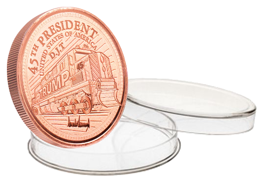 this is our trump train commemorative coin - .999 1oz copper - each one of our president trump commemorative coins comes in a direct fit hard plastic capsule that is also made in the usa -