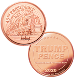 this is our trump train commemorative coin - showing the trump / pence reverse that is standard on all of our 1oz coins - .999 1oz copper-