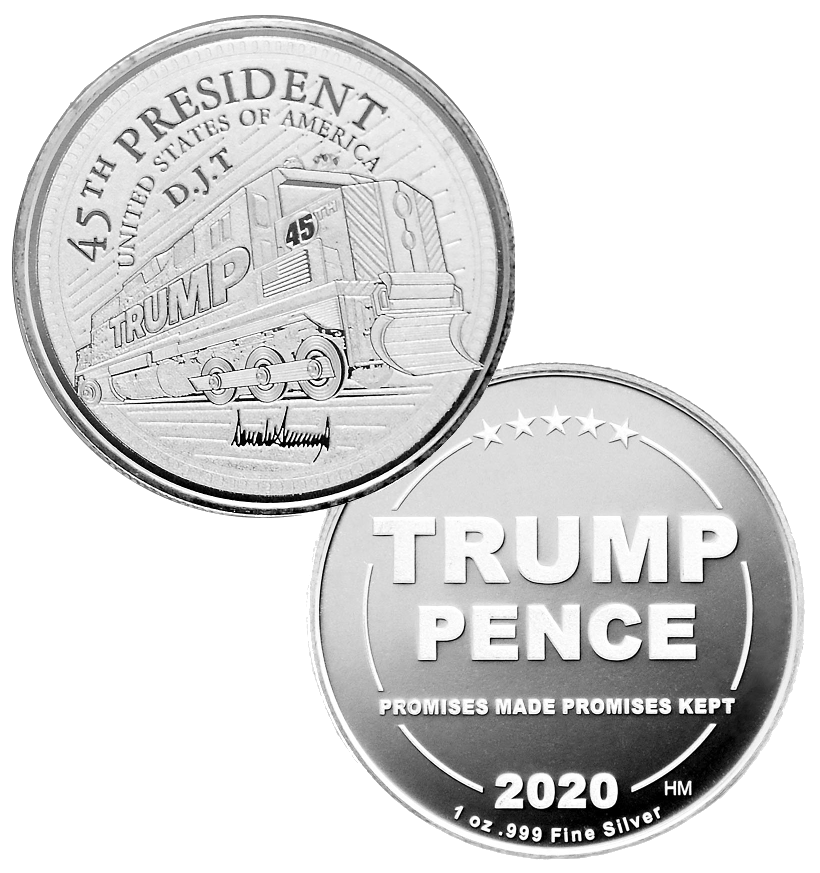 this is our trump train commemorative coin - .999 1oz silver - each one of our president trump commemorative coins comes in a direct fit hard plastic capsule that is also made in the usa.