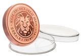 this is our trump lion commemorative coin - .999 1oz copper - each one of our president trump commemorative coins comes in a direct fit hard plastic capsule that is also made in the usa.