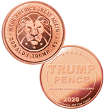 this is our trump lion commemorative coin - showing the trump / pence reverse that is standard on all of our 1oz coins - .999 1oz copper-