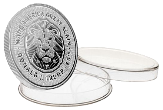 this is our trump lion commemorative coin - .999 1oz silver - each one of our president trump commemorative coins comes in a direct fit hard plastic capsule that is also made in the usa.