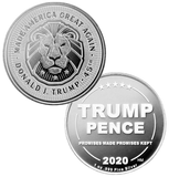 this is our trump lion commemorative coin - showing the trump / pence reverse that is standard on all of our 1oz coins - .999 1oz silver -