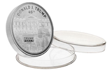 this is our trump white house commemorative coin - .999 1oz silver - each one of our president trump commemorative coins comes in a direct fit hard plastic capsule that is also made in the usa.