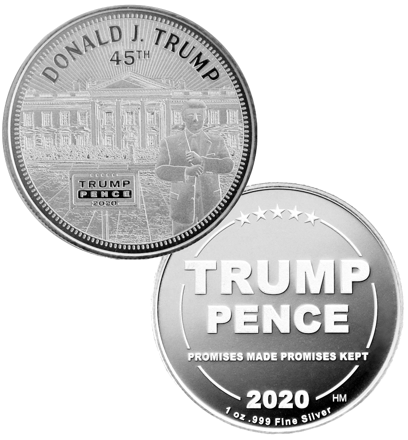 this is our trump white house commemorative coin - showing the trump / pence reverse that is standard on all of our 1oz coins - .999 1oz silver -