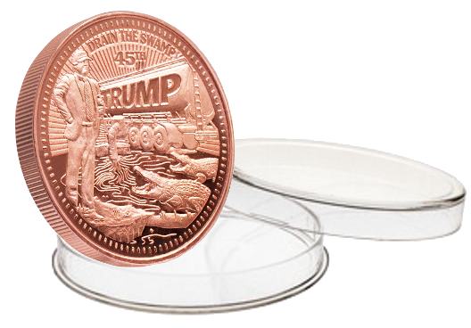 this is our trump draining the swamp commemorative coin - .999 1oz copper - each one of our president trump commemorative coins comes in a direct fit hard plastic capsule that is also made in the usa.