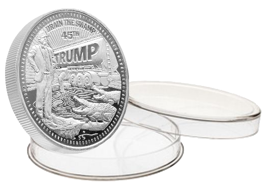 this is our trump draining the swamp commemorative coin - .999 1oz silver - each one of our president trump commemorative coins comes in a direct fit hard plastic capsule that is also made in the usa.