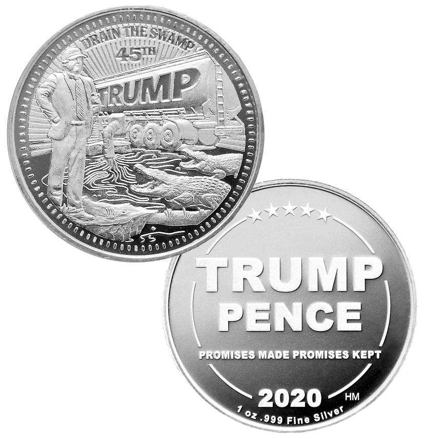 this is our trump draining the swamp commemorative coin - showing the trump / pence reverse that is standard on all of our 1oz coins - .999 1oz silver -