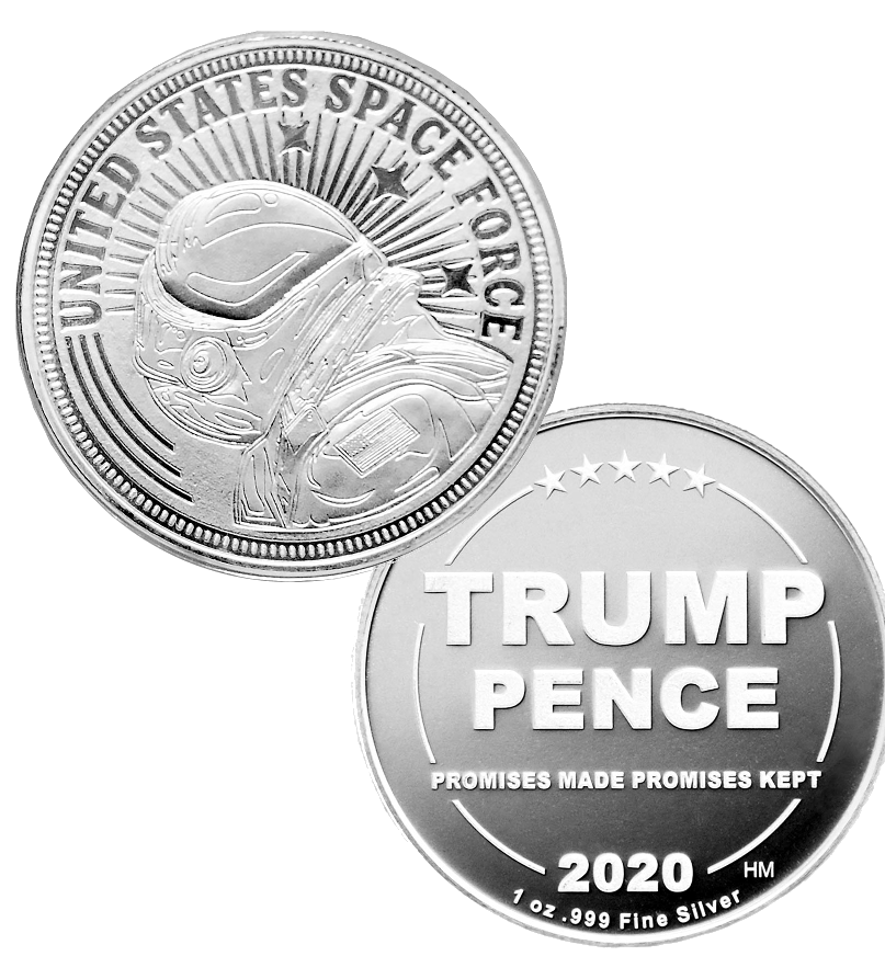 this is our trump space force commemorative coin - showing the trump / pence reverse that is standard on all of our 1oz coins - .999 1oz silver -