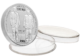 this is our trump rally commemorative coin - .999 1oz silver - each one of our president trump commemorative coins comes in a direct fit hard plastic capsule that is also made in the usa.