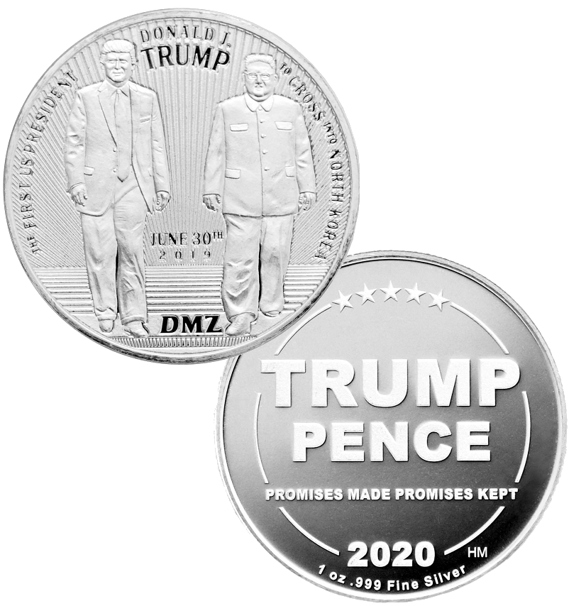 this is our trump dmz commemorative coin - showing the trump / pence reverse that is standard on all of our 1oz coins - .999 1oz silver -