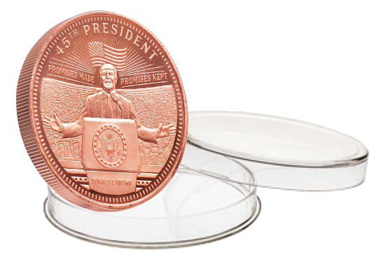this is our trump rally commemorative coin - .999 1oz copper - each one of our president trump commemorative coins comes in a direct fit hard plastic capsule that is also made in the usa.