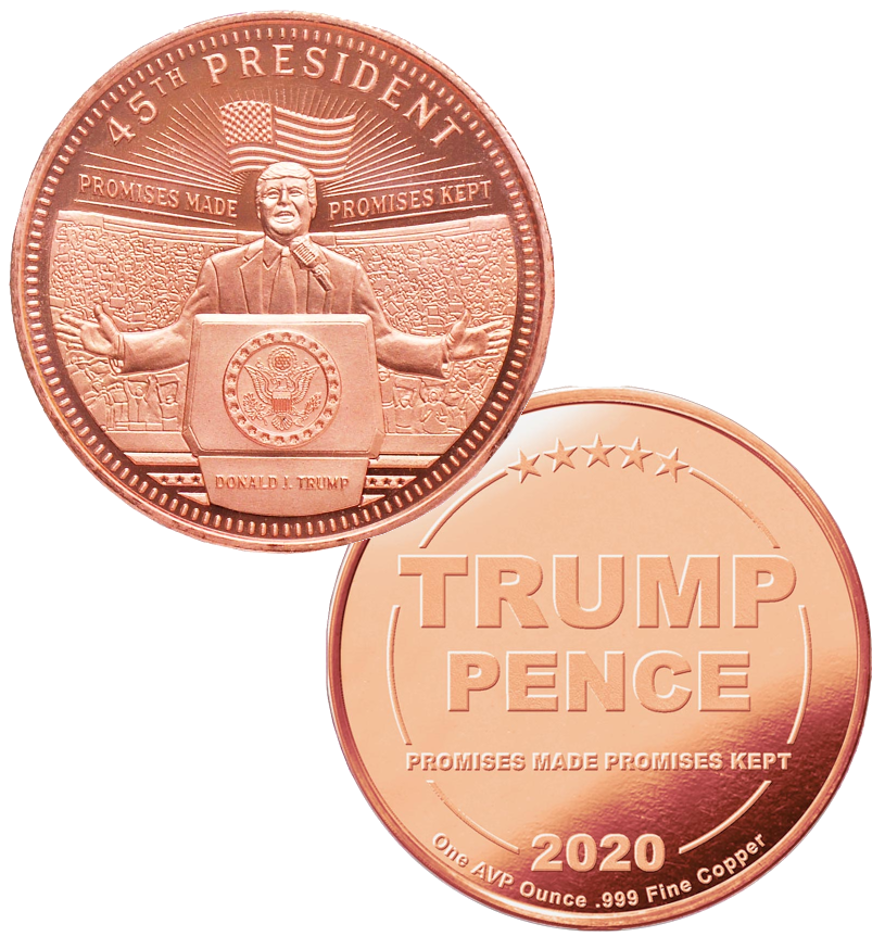 this is our trump rally commemorative coin - showing the trump / pence reverse that is standard on all of our 1oz coins - .999 1oz copper -